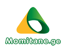 Momitane.ge logo in yellow and Green colors